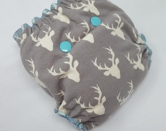 NEWBORN CLOTH DIAPER (6-12#) Waterproof AI2 with Bamboo Hemp // Stag,Deer,boy,girl,newborn diaper,reusable diaper,gift,baby,shower,nappy