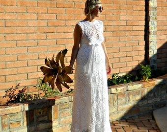 Maternity Wedding Dress-Maternity Dress-Wedding Dress-Couture Wedding Dress-Crochet Lace-Boat Top & Skirt Pineapple Motif-Bride Collection