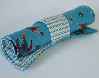 Pencil holder - To The Moon, roll-up case, colored pencil roll, pencil case