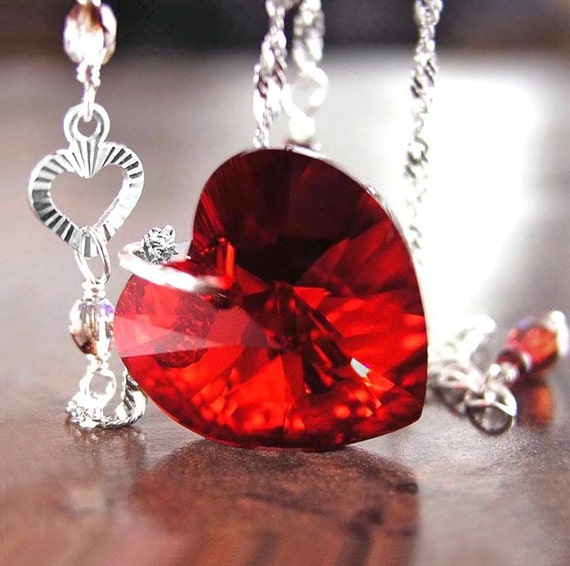 flowers pendant send red heart necklace canada in