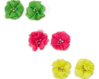 3 Pairs of Chiffon Flower Clips