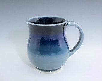 Blue Ceramic Mug, Ceramic Coffee Mug, Round Belly Ceramic Mug, Blue Porcelain Mug, Ceramic Coffee Cup, Tea Mug, Wheel Thrown Pottery Mug