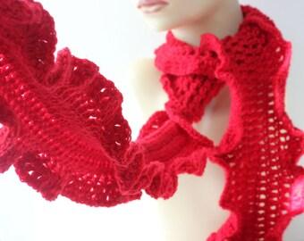 Ruffle Scarf, Hand Crochet Scarf, Custom Scarf, Vegan Winter Scarf, Woman's Scarf