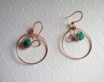 Hoop Wire Wrapped Copper Earrings Agate Bead
