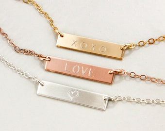 Silver, Rose Gold, Gold Love Necklace • Delicate Necklace, Simple Necklace, Dainty Jewelry • Valentine's Day Gift • Heart Necklace, Gold Bar