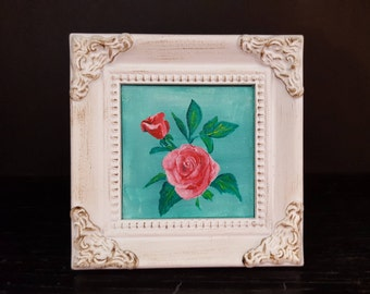 Roses Miniature Acrylic Painting with Frame