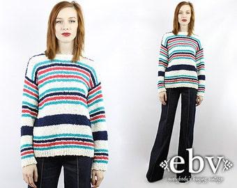 Vintage 80s Nubby Knit Striped Oversized Sweater Oversized Knit Oversized Pullover Oversized Jumper Striped Sweater White Sweater