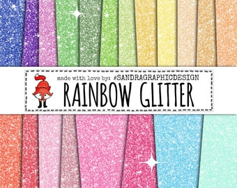 "Glitter digital paper ""RAINBOW GLITTER"" with colorful glitter backgrounds, glitter textures in rainbow colors(1183)"