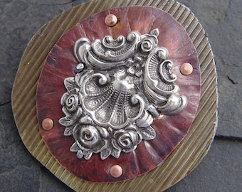 Antiqued Silver, Embossed Brass and Textured Copper Mixed Metal Brooch Art Decoholi