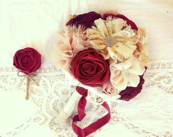 Red wedding bouquet, burgundy bridal bouquet, lace bouquet, vintage bouquet, blush wine bouquet