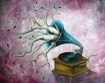 It Just Comes Naturally - 8x10 Art Print  - Whimsical Gramophone with Birch Branches - Art by Marcia Furman