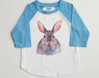 Dappy Bunny Shirt - Boy Easter Shirt - Custom Easter Shirt - Easter Raglan - Boy Bunny Shirt - toddler Rabbit Shirt - Easter Bunny Tee