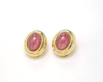 Nolan Miller Pink Glass Earrings, Clip Ons, 1960s Vintage Jewelry SALE