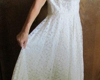 "Plus Size Lace WEDDING DRESS Tea Length xtra full skirt Bridal Gown 1959 accommodates large 42""bust 34""W Women's beautiful 1950's white 47""L"