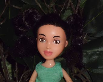 Bare Faced Dolls #136 Black hair, brown eyes Pictured In Tree - Ooak - Repainted- Bratz Makeunder- Changed doll.