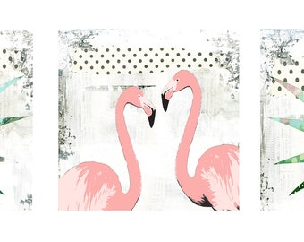 Pink Flamingo Art - 3 Piece Wall Art Printable , Digital Download Art , Beach Art Set, Whimsical Flamingo Wall Art