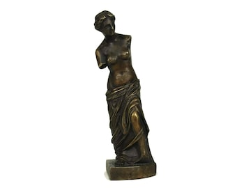 Vintage French Bronze Reproduction of Venus de Milo Figurine. Greek Goddess Aphrodite of Milos Figure. Venus Statuette. Mythological Decor.