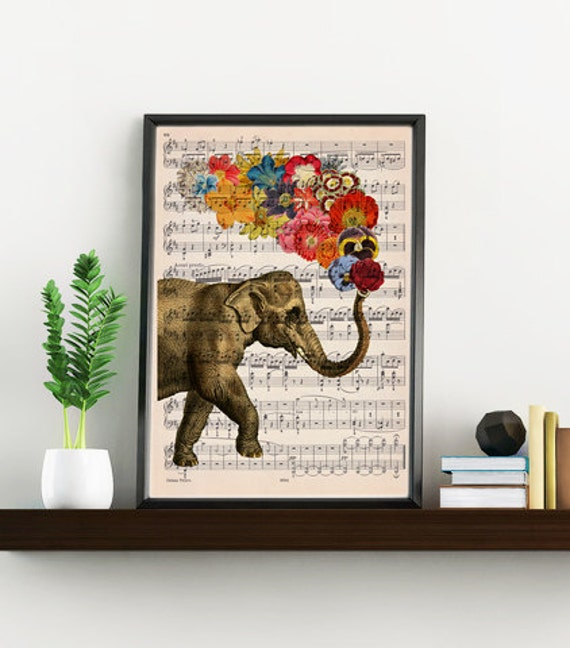 Elephant with flowers music sheet Print - Elephant art print, Music sheet wall art Elephant Nursery decor wall art ANI091MSL