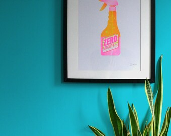 ZERO GRAVITY SPRAY A3 print original art, florescent Riso Risograph - Signed Limited Edition of 50 Screen print style graphic wall art