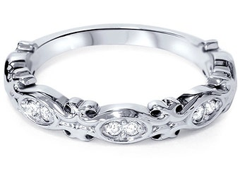 1/10Ct Diamond Vintage Stackable Ring Wedding Band 14K White Gold Size 4-9