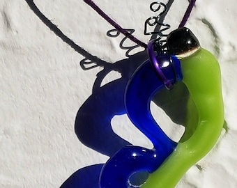 Bright green and blue  glass butterfly necklace pendant