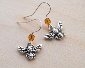 Teeny Tiny Silver Bee Earrings   Cute Honey Bee Earrings   Cute Charm Earrings