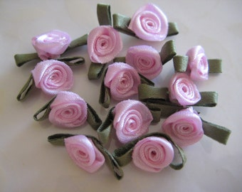 30 pcs Pink Small Satin Ribbon Flower Appliqués with Green leaves for Crafting, Sewing, Doll Clothes, Embellishment - 0.75 inch / 2 cm