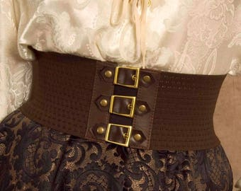 Size LARGE Brown Steampunk / Pirate stretch belt, Great for Halloween &  Ready to Ship! Features Brass buckles and Leather