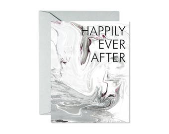 HAPPILY EVER AFTER Blush Pink/Rose Marble Pattern Greeting Card / Wedding / Anniversary / Engagement - Single Card