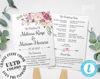 Wedding Program Fan Template, Bohemian Floral, Instant Download, DIY Wedding Program Template, Boho Flowers Wedding Ceremony Program