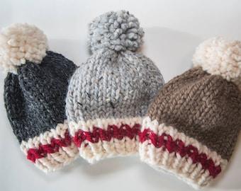 Sock Monkey Knit Hat / Child Chunky Beanie / Knit Baby Hat Pom Pom / Toddler Knit Baby Hat / Knit Child Hat