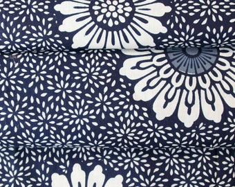 Indigo and White Yukata Fabric // A Touch of Red  // Japanese Kimono Fabric