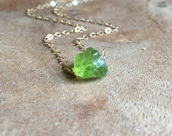 Raw Peridot Necklace - Peridot Necklace -  August Birthstone Necklace  - Raw Crystal Necklace - Peridot Jewelry - Silver or Gold
