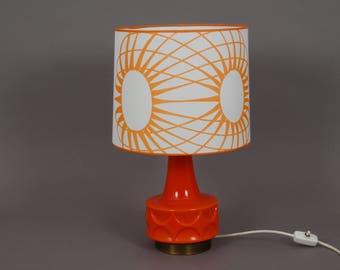 Tischlampe Retro 70er orange/ weiß
