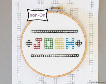 Pixel Alphabet Sampler • Iron On Embroidery Pattern Transfer • Hand Embroidery Pattern