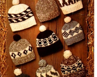 White Buffalo toques for the entire family - PDF Knitting Pattern - Winter wear!!