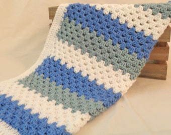 Ready To Ship - Stripe Ganny Square Baby Blanket