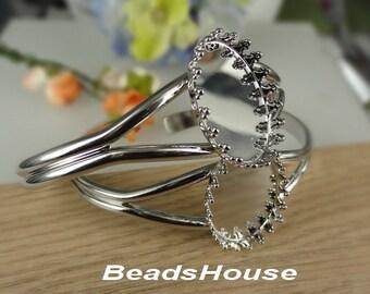 CB-040-Si  2pcs (18mm x 25mm setting Base) Silver Plated Brass Cuff Bracelet, Nickel Free