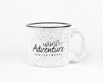 Campfire Mug, Camp Mug | Adventure Is Everywhere | 15 oz Ceramic Coffee Mug White Speckled