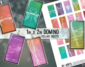 Pastel Grunge Scrollwork 1x2 Domino Collage Sheet Digital Images for Domino Pendants Magnets Scrapbooking Journaling JPG D0029