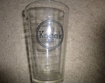 Cool Corporate Branding for the bar or kitchen - Vintage industrial glass Kodak 1/2 liter 16 oz or Pint measuring cup with curved lip