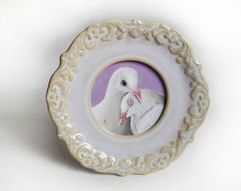 Valentine Dove painting - white dove pair - lovey dovey - valentines gift - ornate ceramic frame - cream and lilac - peace dove - love art