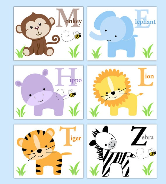 Baby Nursery Art Print Dog Abc Nursery Decor Alphabet Print: SAFARI ANIMAL PRINTS Boy Neutral Nursery Alphabet Wall Art