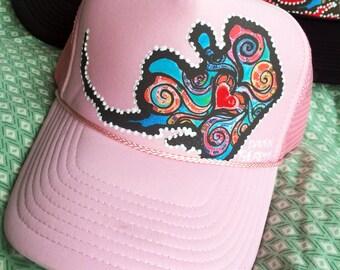 Handmade Alaska Love Trucker Hat - Baby Pink