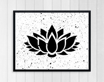 PRINTABLE ART, Lotus Flower, Namaste, Motivational Poster, Inspirational Quote, Black and White, Wall Art, Typography Art, Yoga Art