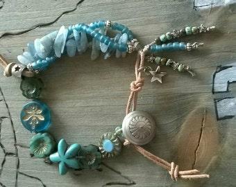 Bracelet ⭐ ⭐ aquamarine Czech glass beads