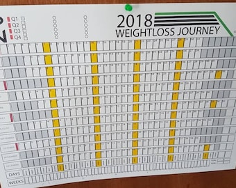 A3 2018 weight loss journey calendar personalised text and goals digital print your own