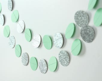 Silver Glitter and Mint Green Garland - Mint and Silver Garland - Mint Paper Garland - Silver and Mint Wedding Decor