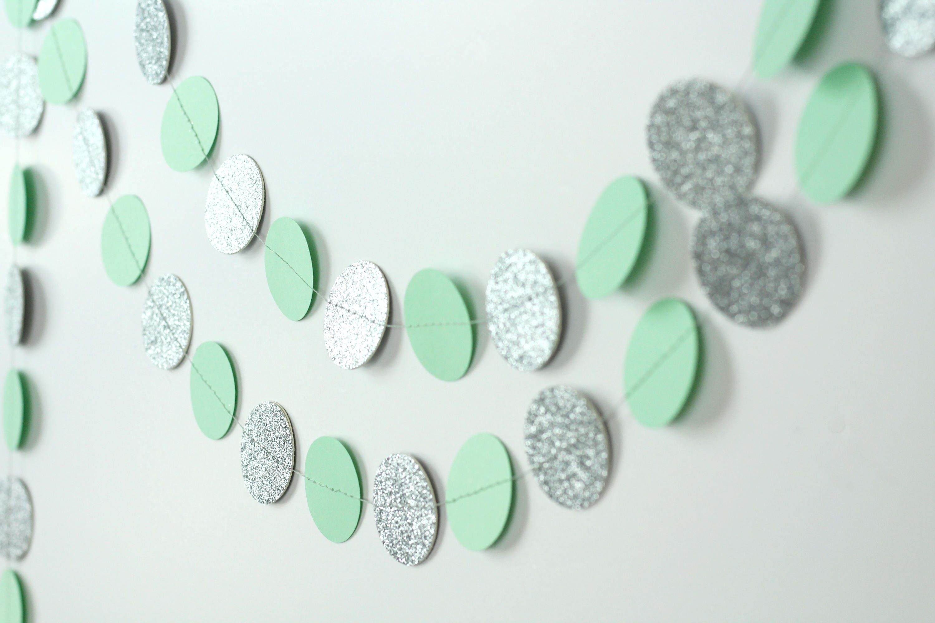 Silver Glitter and Mint Green Garland - Mint and Silver Garland ...