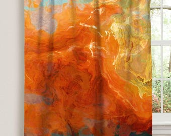 "Abstract art window curtain in orange, yellow and teal, 50""x84"" blackout drapery panel, contemporary rod pocket curtain, Electric"